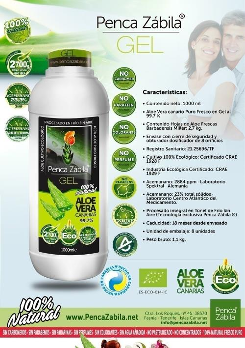 Gel Aloe Vera Natural Fresco Puro Penca Zabila