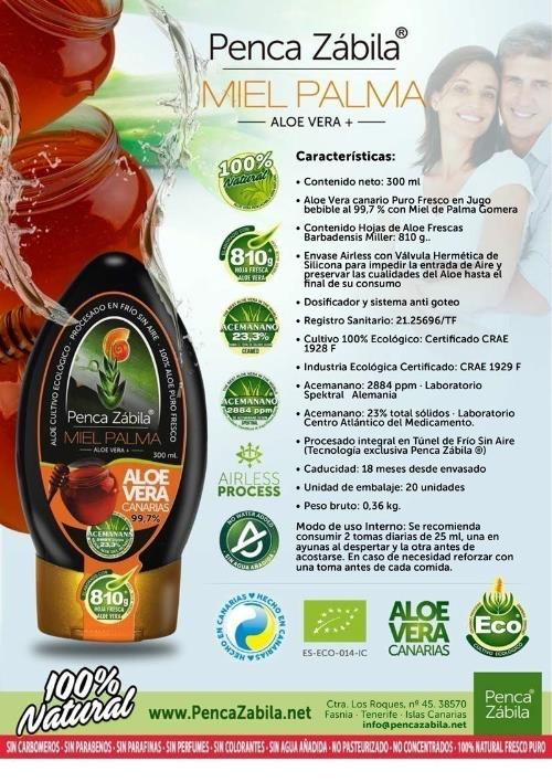 Aloe Vera Palm Honey Juice Fresh Pure Penca Zabila